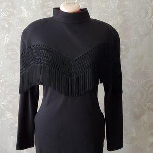 Vintage Cartise black fringe mock-neck dress